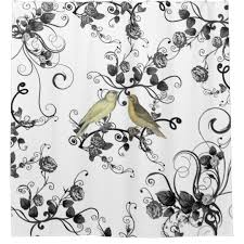 White And Yellow Shower Curtain Vintage Yellow Birds Black White Roses Flowers Shower Curtain