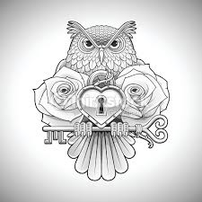 tattoo design of owl holding key heart locket and roses vector art