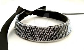 collar necklace leather images Black silver net leather choker collar necklace by storytellerzero jpg