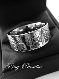 the bears wedding band 12mm celtic wedding band knot ring mens women scottish ring