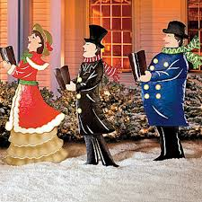 Christmas Yard Decorations Set Of 3 Metal Christmas Carolers Outdoor Yard Display Holiday