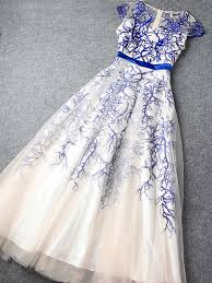 blue embroidery totem organza maxi dress christmas special offers