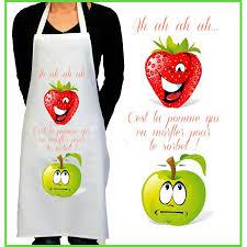 tabliers de cuisine originaux tablier de cuisine rigolo fraise et pomme cadeau rigolo