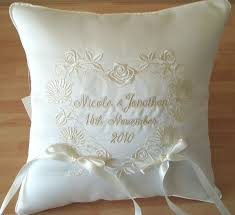 wedding pillow rings ith wedding pillow floral and celtic design wedding ring