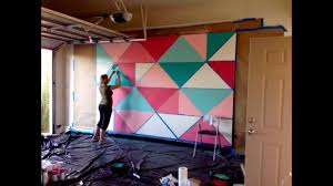 Abstract Wall Mural How To Paint A Giant Geometric Feature Wall Mural Youtube