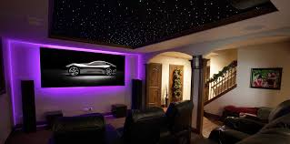 Man Cave Led Lighting 7 series zero edge residential projection screen uses ambient