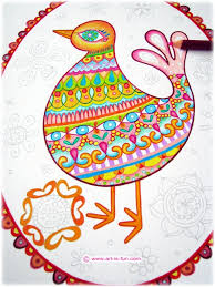 folk art birds coloring pages u2014 art fun