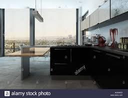 modern fitted kitchen modern fitted kitchen in a luxury apartment with stylish
