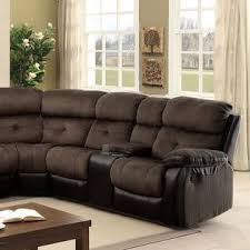 furniture of america living room recliner sectional w consoles