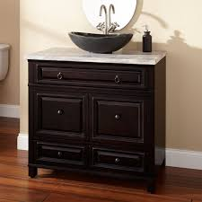 espresso wooden bath vanity with black stone bowl sink also chrome