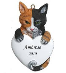 calico cat personalized cristmas ornament