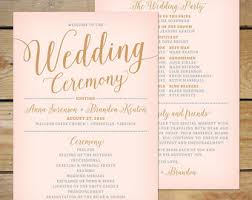 wedding ceremony fan programs blush pink and gold wedding program printable printable