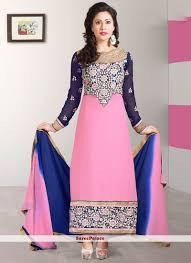 buy light pink shaded faux georgette straight suit online