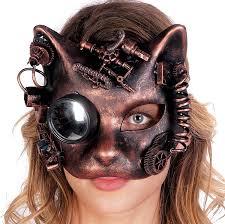 halloween costume with mask amazon com cat face steampunk gear half mask halloween costume