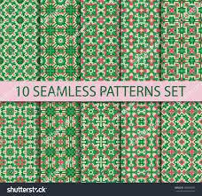 set seamless patterns byzantine style ten stock vector 289806905
