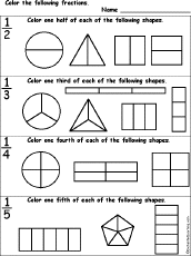 color the fractions worksheet enchantedlearning com