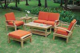 Wood Patio Furniture Sets Outdoor Table Set With Cushion Wood Outdoor Furniture