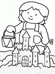 Coloring Pages Children Playing 525563 Sandcastle Coloring Page