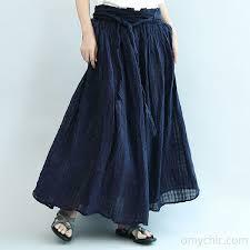 summer skirts 2017 navy linen maxi skirts oversize elastic waist summer skirts1 2 jpg