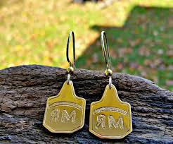 cow tag earrings cow tag earrings livestock brand earrings farm jewelry cow