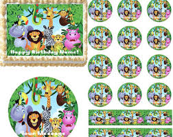 jungle safari animals edible cake topper image jungle safari