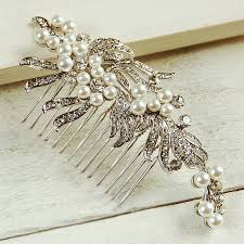 wedding hair combs ribbon pearl wedding hair comb by highland angel