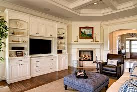 Basement Tv Built In Family Room Traditional With Wood Floors - Family room built ins
