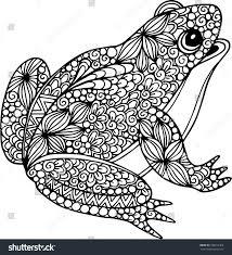 ornamental doodle frog illustration stock vector