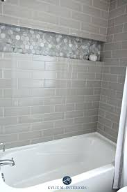 bathtub with shower surround niche bathroom shower bathroom with bathtub and gray subway tile