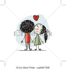 vectors of couple in love kissing valentine sketch for your