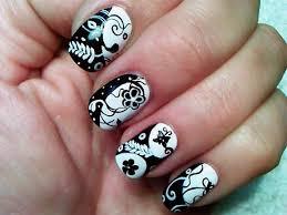 black white and silver nail art designs
