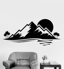 vinyl wall decal island nature palm tree mountain sunset stickers vinyl wall decal island nature palm tree mountain sunset stickers 873ig