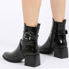 ankle high motorcycle boots willa buckle detail cubed heel ankle boots in black high shine