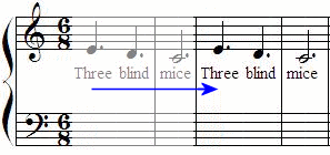 Three Blind Mice Piano Notes Music And Transformation Geometry