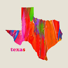 Tx State Map by Vibrant Colorful Texas State Map Painting Mixed Media By Design