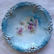 rs prussia bowl roses r s prussia bowl roses center and garland blue scalloped