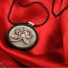Custom Silver Pendants Handcrafted Unique Design Lotus Flower Ebony Custom Wood Silver