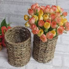 Wicker Vases 2017 Retro Countryside Style Rattan Vase Flower Basket Vase