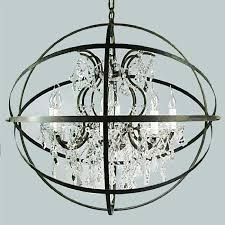 Iron Orb Chandelier Loft Country Crystal And Iron Orb Chandelier 10161 Browse
