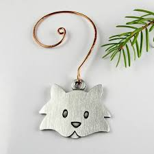 fuzzy cat christmas tree ornament pewter all things cat