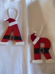 santa initial ornaments you can buy these wooden letters for