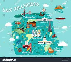 san francisco map sightseeing map san francisco attractions vector illustration stock vector