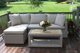 Patio Pillow Storage by 3 Piece Teak U0026 Wicker Storage Sectional Set With Olefin Cushions