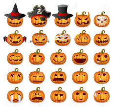 halloween pumpkins horror persons emotion variation icon set