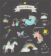 unicorn rainbow the magic hand drawn doodle collection with unicorn rainbow