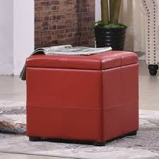 red leather storage cubes red storage ottomans red leather