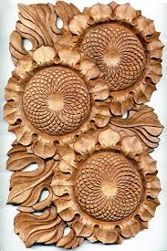 wood sculpture decor wall hanging cornfield of sunflowers bulgarian wood carving room