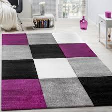 Wohnzimmer Schwarz Grau Rot Teppich Modern Wohnzimmer Kurzflor Karo Design Lila Schwarz Grau