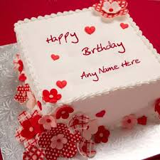 birthday cakes online write your name on lovely white decorated birthday cake