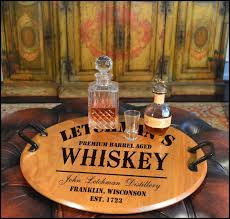 personalized photo serving tray classic distillery barrel serving